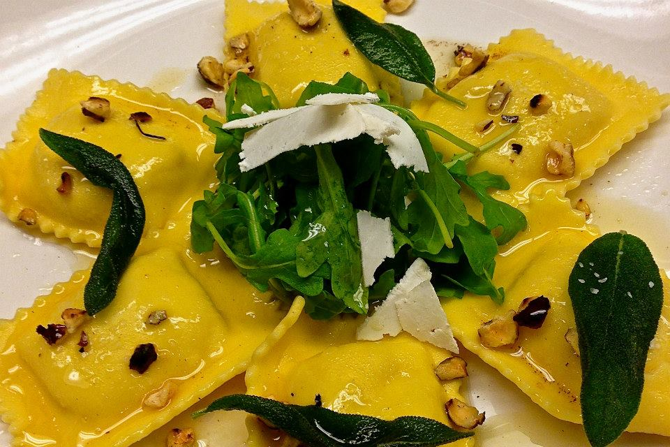 Butternut Squash Ravioli w:Brown Butter, Sage and Toasted Hazelnuts