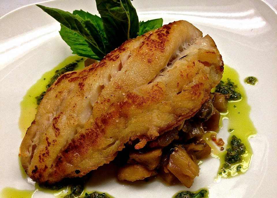Grouper with Caponata and Salsa Verde